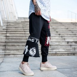 2018 New Pattern Street Hip-hop Pants Men's Haren Pants Personality Zipper Split Joint Easy Motion Leisure Time Pants Tide