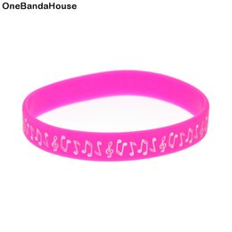 Wholesale 100PCS Lot New Design Music Note Silicone Wristband Ink Filled Colour Logo Bracelet for Students