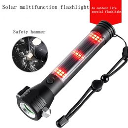 Solar powered flashlight, multi-function USB rechargeable LED flashlight, car emergency attack hammer, compass camping, hiking.