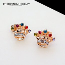 Lovely Small Crown Design Rose Gold Color Multicolour Austrian Rhinestones Woman Stud Earring Wholesale