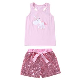 2018 baby girl summer clothes girls boutique clothing kids unicorn vest tshirts + sequin shorts 2 piece sets childrens outfits fashion gold