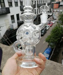 14hole Newest glass recycler Glass Bongs Oil Rigs Glass Design Eggosphere combo of ball rig with fab