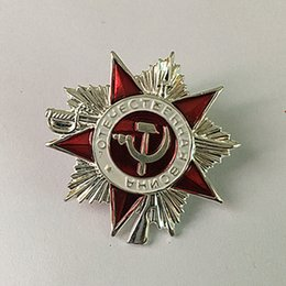 2 Pcs The soviet emblem five stars world war defense badge silver plated 32 mm souvenir coin medal symbol bdage
