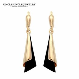 Elegant Rose Gold Color Fashion Long Style Black Color Acrylic Woman Drop Earring Wholesale Fashion Accessories Gifts Drop Ship