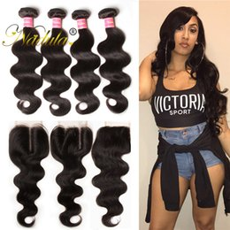 Nadula Body Wave Brazilian Virgin Hair 3-4Bundles With Lace Closure Brazilian Human Hair Weave Closure and Bundles Remy Human Hair Bundles