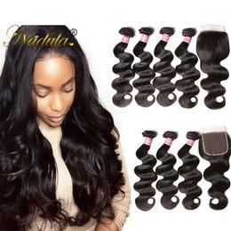 Nadula Brazilian Body Wave Human Hair Bundles With Closure Virgin Hair Weave Bundle With Closure Brazilian Bundles Human Hair Extensions