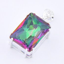 10 Pcs Lot 20*15 mm Solid 925 sterling Silver Plated Mystic Rainbow Topaz Gems Fashion Pendants for Necklace Jewelry NEW