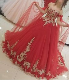 Plus Size Middle East Red Appliques Prom Dresses 2019 Off-Shoulder Quinceanera Ball Gowns Bodice Lace-Up Back Formal Party Gowns Custom Made