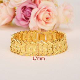 wide 17mm MEN 18K YELLOW GOLD GF REAL ID BRACELET SOLID WATCH CHAIN LINK 20cm Containing about 30% or more of an alloy