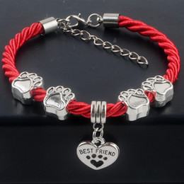 New Hot Sale Fashion Hand-Woven Rope Chain rope Bracelets dog paw best friend Charms Bracelets Jewelry for women