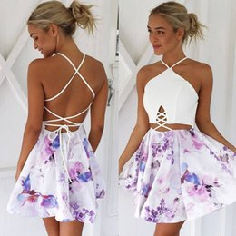 2018 New Trend False Two Pieces Set Halter Strap Backless Cross Print Sleeveless Short Party Dress