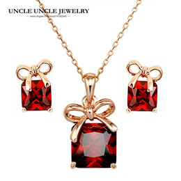 Rose Gold Color Red Square Cubic Zirconia Sweet Bowknot Style Woman Jewelry Set Earring Necklace Wholesale Christmas Gifts