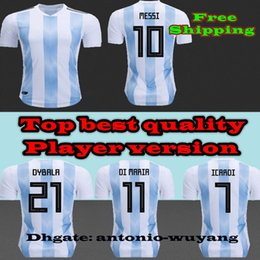 Player versions Tight 2018 Home 10 Messi top best Soccer Jerseys,Customized Name Number 21 Dybala 11 Di Maria 9 Icardi 8 Perez Soccer jersey