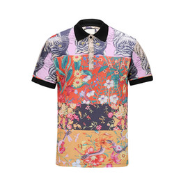 New explosions men's formal cat and flower print polo shirt 100 % cotton short sleeve polo neck men's polo shirt m - 3xl