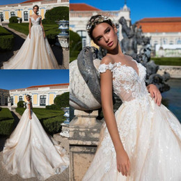 2018 Champagne Elegant Cap Sleeves Wedding Dresses Sheer Neck A Line Tulle Lace Appliqued Illusion Back Bridal Gowns with Buttons