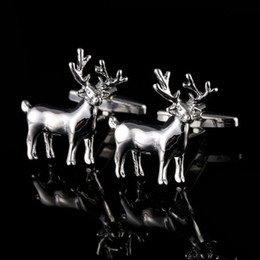 Christmas Silver Deer Head Cufflinks Europe and American Business Suit Cufflinks Men's French Shirt Buttons free shipping