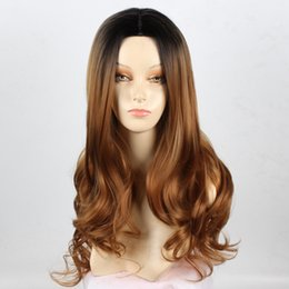 26 Inch women's wig Long Curly Wave Hair Wigs for Women Black To Light Brown Curly None Lace Front Wig(Color:Light Brown)