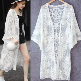 Sun Protection Top Women Summer Sexy Lace Long Blouse Cardigan Coat Overalls suitable for beach vacation
