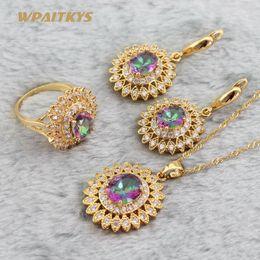 EIOLJZ Flower Multicolor Zircon Golden Jewelry Sets For Women Wedding Sets For Bride Drop Earrings Pendant Necklace Ring Mix Order