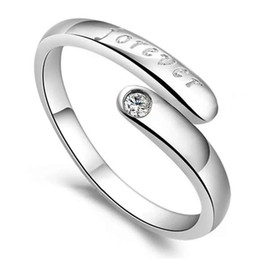 Silver crystal ring jewelry wedding single ring forever letters vintage charms new arrival free shipping