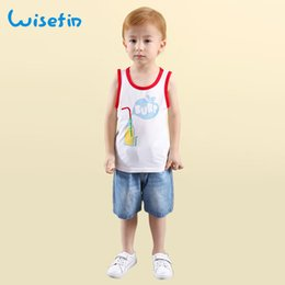 Wisefin Kids Set Summer Sleeveless Cartoon Tops White Vest Solid Shorts Drink Print Clothes Boys Soft Outfits Pants Suit 2pcs