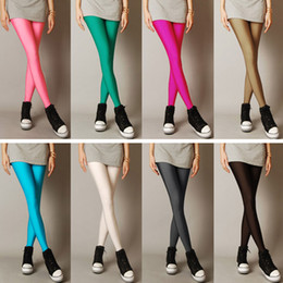 Leisure Legging women's Stretch Neon Candy Skinny Thin Shiny Bright Fluorescent Glow Stretch Leggings Pants Capris