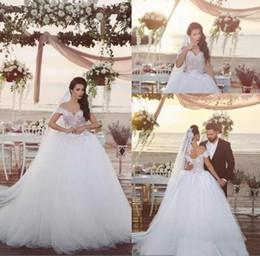 Vestido de novia 2020 African Lace Appliqued Ball Gown Wedding Dresses Off the Shoulder Bridal Gowns Lace Up Back Arabic Wedding Bride Dress