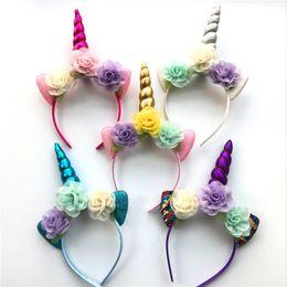 2018 Glitter Metallic Unicorn Headband Girls Chiffon Flowers Hairband For Kids leaf flower Unicorn Horn Party Hair Accessories GA215