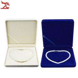 New Arrival Jewelry Display Sapphire Blue Velvet Pearl Necklace Gift Present Box, Necklace Storage Case 19*19*4CM