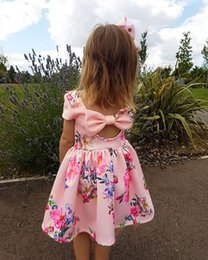 Girls Floral Printed Dress Hollowed Back Big Bow Baby Girls Dresses Bow Breathable Cool Summer Skirt Outfit 2-7T