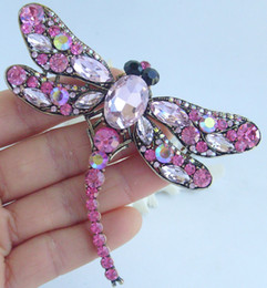 """3.74"""" Gorgeous Dragonfly Animal Brooch Pin Pink Rhinestone Crystals Deco Pendant EE05684C2"""