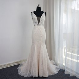 Crystal Bead Sequins Mermaid Wedding Dresses Deep V-neck Champagne Tulle Elegant Sexy Bridal Gowns With Sash Vestidos