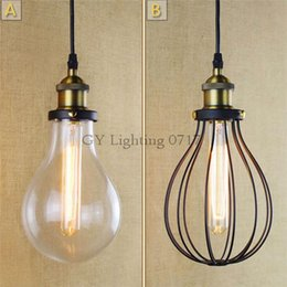 AC110V 220V American country style industrial glass water Metal iron net room hall lounge bar Kitchen pendant lights lamp European Nordic