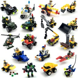 Cars Building Blocks Minifig Air Plane Fire truck police car Mini Figure Toys action figures crane Raytheon Reconnaissance tank Excavator