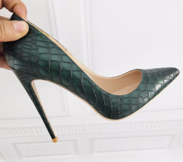 Dark Green Women's Shoes High Heel 12cm   10cm   8cm Heel Sexy Tip Pumps Shoes Small Size 34 44