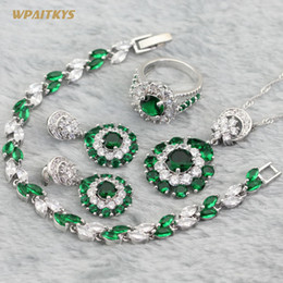 Green Women's Jewelry Sets - Wholesale AAA White Zircon Round Stone Silver Plated Pendant Drop Earrings Ring Bracelet For Women Size 6-10