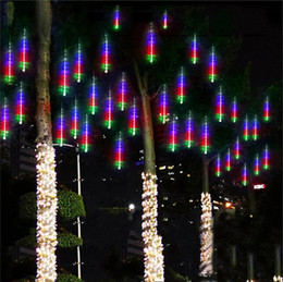Christmas LED Meteor Lights,Waterproof Garden Lights 50cm 10 Tubes 270leds Snow Falling Raindrop Icicle Cascading light for Holiday