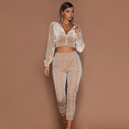 Wholesales Fashion Pleuche Tracksuit Super Short Coat with Metal Zipper Ankle-length Radish Pants 2018 World Popular Trend
