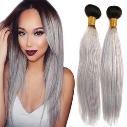 Brazilian Virgin Hair Extensions 1b grey Human Hair Bundles Double Weft Weaves 3pcs lot DHL free shipping