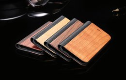 For iPhone 7 6 6s Plus Luxury Real Wooden Flip Folio PU Leather Case Book Style Natural Wood Bamboo PU Leather Stand Wallet Back Cover