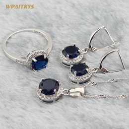 Round Women Wedding Jewelry Sets - Wholesale Blue Stone Silver Plated Pendant Necklace Drop Earrings Ring For Bride Ring Size 6-10