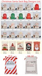 2018 Christmas Gift Bags Large Organic Heavy Canvas Bag Santa Sack Drawstring Bag With Reindeers Santa Claus Sack Bags for kids
