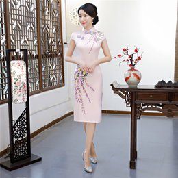 Shanghai Story Chinese Style Dress Knee Length Cheongsam Qipao Chinese oriental dress Short Sleeve Traditional Chinese CLothing for women