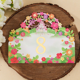 Place cards for Wedding Laser Cut Flower Wedding Table Number Cards Romantic Place Card Wedding Supplier Wholesale Free Shipping