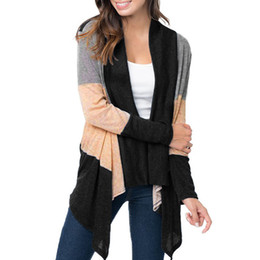 New shawl Europe and America large size classic color cardigan long sleeve color matching sweater ladies casual jacket