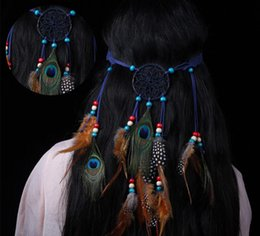 Wholesale Handmade Adjustable Hair Accessories Art Craft New Twist Peacock Feather Hair Band Ornament Indian Style Gift (you choose color)