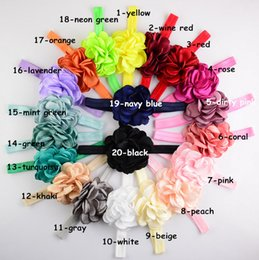 20 Color Baby Lace flower Headbands NEW Girls Cute Hair Band Infant Lovely Headwrap Children Bowknot Elastic Accessories B001