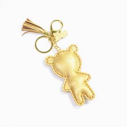 Creative cartoon bear PU Leather bag pendants 3D filling cotton key chains Tassel bag pendants Accessories wholesale
