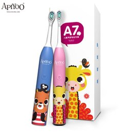 APIYOO Children Automatic Electric Toothbrush Upgraded Sonic Smart Clean IPX7 Waterproof USB Wireless Charge Soft Brushhead for 3-12 Years