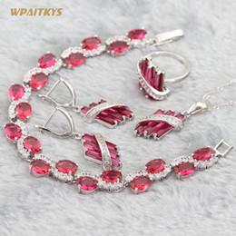 Red Wedding Jewelry Sets - Wholesale AAA Zircon Geometry Stone Silver Plated Pendant Drop Earrings Ring Bracelet For Women Rings Size 6-10